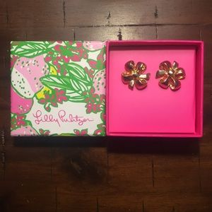 Lilly Pulitzer gold ribbon earrings